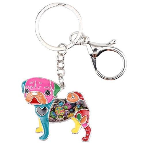 Beautiful Pug Love Enamel Keychains