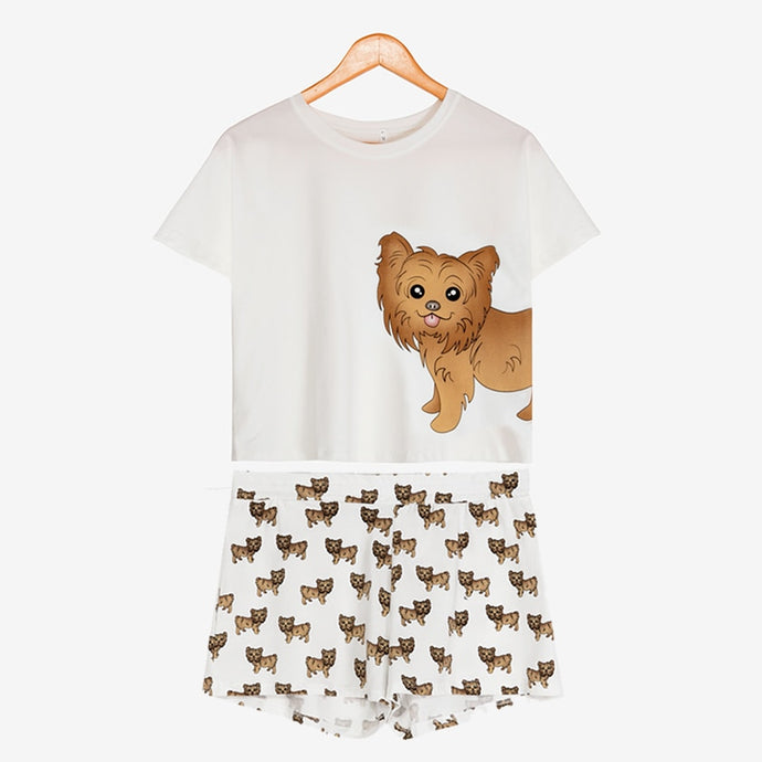 Yorkie Mom Crop Top and Shots Sleeping Set