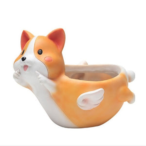 Cutest Corgi on Belly with Angel Wings Love Succulent Plants Flower Pot