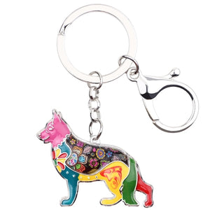 Beautiful German Shepherd Love Enamel Keychains