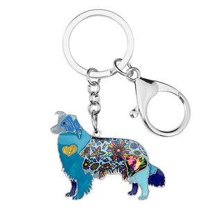 Beautiful Shetland Sheepdog / Rough Collie Love Enamel Keychains