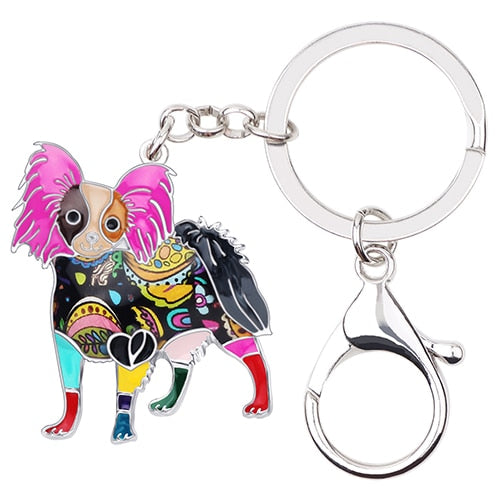 Beautiful Papillon Love Enamel Keychains