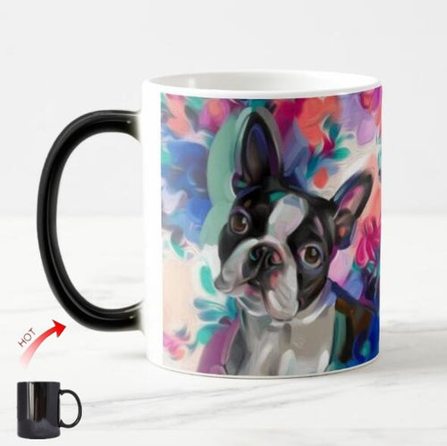 Color Changing Artistic Boston Terrier Coffee Mug