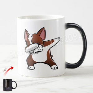 Color Changing Dabbing Brown Boston Terrier Coffee Mug