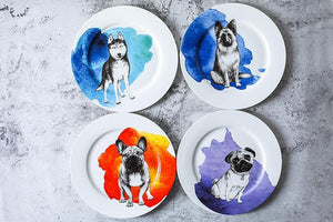 "Pug Love 10"" Bone China Dinner PlatesHome Decor"