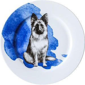 "Pug Love 10"" Bone China Dinner PlatesHome DecorAlsatian / German Shepherd"
