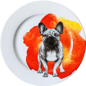 "Pug Love 10"" Bone China Dinner PlatesHome DecorFrench Bulldog"