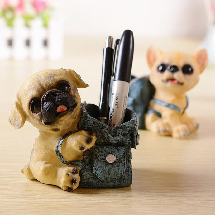 Pug Love Desktop Pen or Pencil Holder FigurineHome DecorPug
