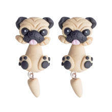 Load image into Gallery viewer, Pug Love Handmade Polymer Clay EarringsDog Themed Jewellery