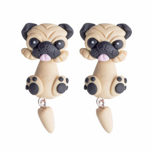 Pug Love Handmade Polymer Clay EarringsDog Themed Jewellery
