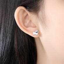 Load image into Gallery viewer, Pug Love Silver and Enamel EarringsDog Themed Jewellery