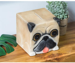 Pug Love Square Shaped Piggy Bank StatueHome Decor