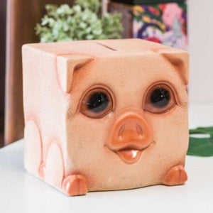 Pug Love Square Shaped Piggy Bank StatueHome DecorPig