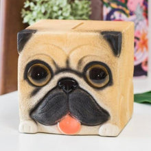 Load image into Gallery viewer, Pug Love Square Shaped Piggy Bank StatueHome DecorPug
