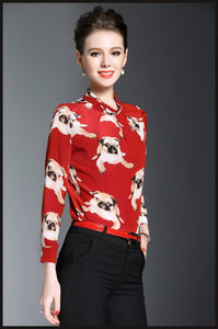 Pug Love Womens 100% Silk BlouseShirt