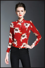 Load image into Gallery viewer, Pug Love Womens 100% Silk BlouseShirtRedS