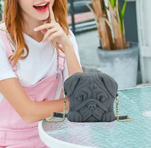 Load image into Gallery viewer, Pug Shaped 3D Sling HandbagBagCharcoal GrayOne Size