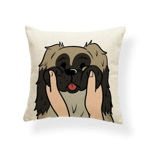 Pull My Cheeks Basset Hound Cushion CoverCushion CoverOne SizePekingese