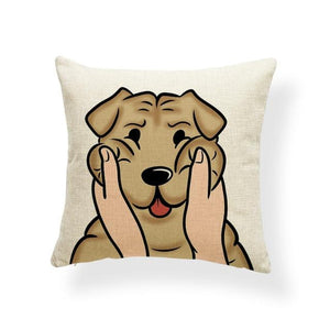 Pull My Cheeks Bichon Frise Cushion CoverCushion CoverOne SizeShar Pei