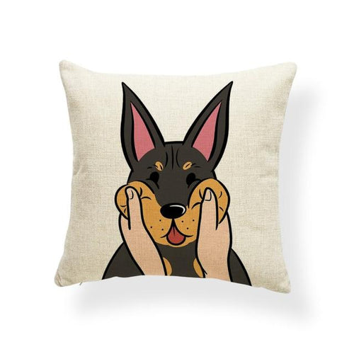 Pull My Cheeks Doberman Cushion CoverCushion CoverOne SizeDoberman