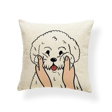 Load image into Gallery viewer, Pull My Cheeks Doggos Cushion CoversCushion CoverOne SizeBichon Frise