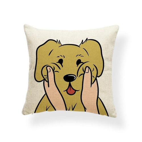 Pull My Cheeks Golden Retriever Cushion CoverCushion CoverOne SizeGolden Retriever