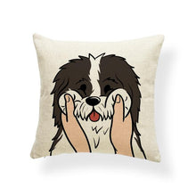Load image into Gallery viewer, Pull My Cheeks Pekingese Cushion CoverCushion CoverOne SizeBorder Collie