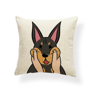 Pull My Cheeks Shiba Inu Cushion CoverCushion CoverOne SizeDoberman