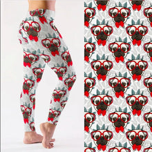 Load image into Gallery viewer, Red Bowtie and Glasses Pug Love LeggingsApparelAnkle-LengthS