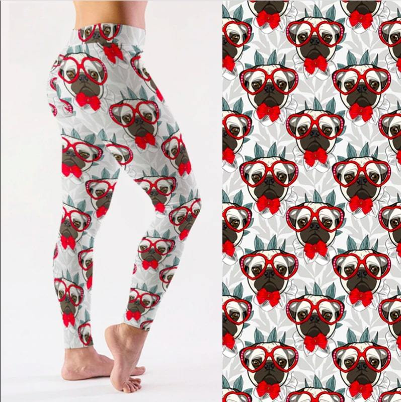 Red Bowtie and Glasses Pug Love LeggingsApparelAnkle-LengthS