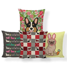 Load image into Gallery viewer, Red Quilted Corgi Pattern Cushion Cover - Series 7Cushion Cover