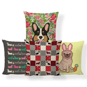 Red Quilted Corgi Pattern Cushion Cover - Series 7Cushion Cover