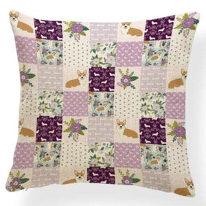 Red Quilted Corgi Pattern Cushion Cover - Series 7Cushion CoverOne SizeCorgi - Purple Quit