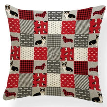 Load image into Gallery viewer, Red Quilted Corgi Pattern Cushion Cover - Series 7Cushion CoverOne SizeCorgi - Red Quilt
