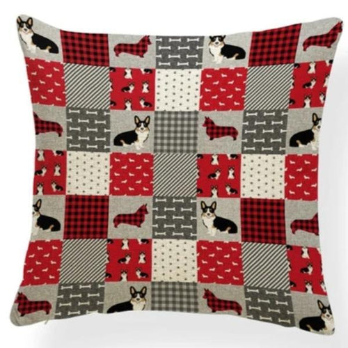 Red Quilted Corgi Pattern Cushion Cover - Series 7Cushion CoverOne SizeCorgi - Red Quilt