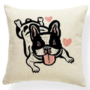 Red Quilted Corgi Pattern Cushion Cover - Series 7Cushion CoverOne SizeFrench Bulldog - White Background