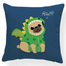 Load image into Gallery viewer, Red Quilted Corgi Pattern Cushion Cover - Series 7Cushion CoverOne SizePug - Dragon Suit
