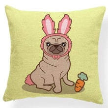 Load image into Gallery viewer, Red Quilted Corgi Pattern Cushion Cover - Series 7Cushion CoverOne SizePug - Rabbit Ears