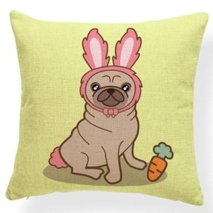 Red Quilted Corgi Pattern Cushion Cover - Series 7Cushion CoverOne SizePug - Rabbit Ears
