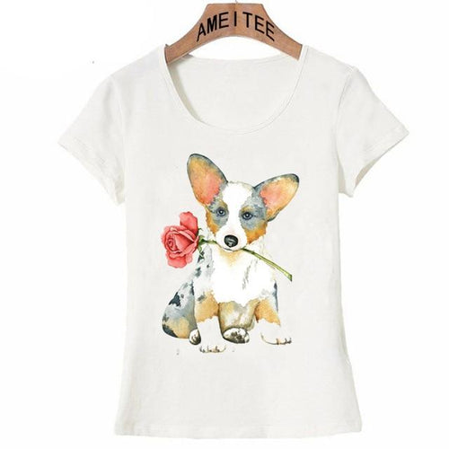 Red Rose Corgi Womens T ShirtApparelCorgiS