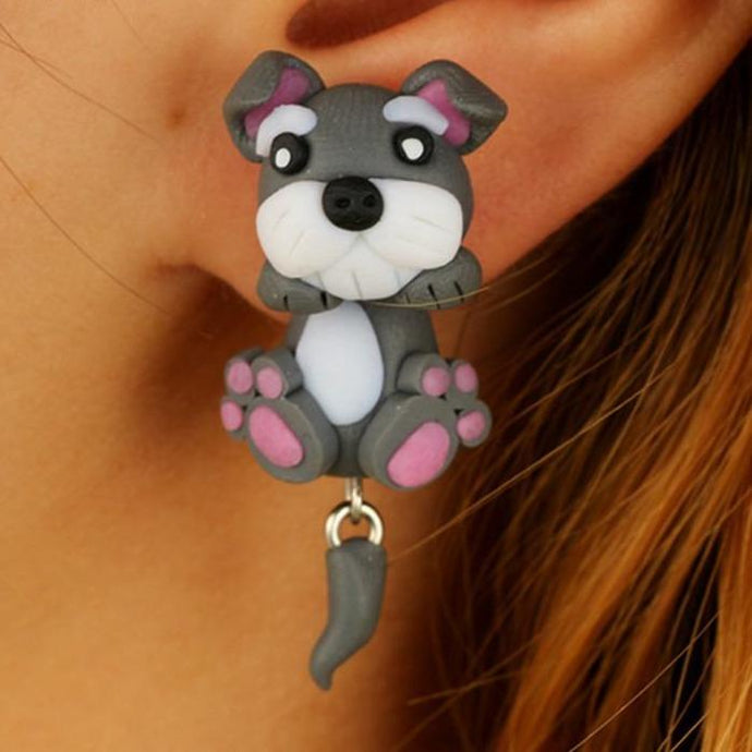 Schnauzer Love Handmade Polymer Clay EarringsDog Themed JewelleryStyle 1 - Pink Highlights