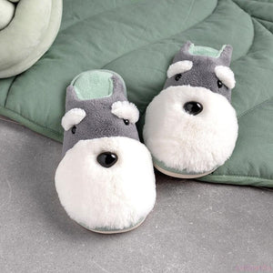 Schnauzer Love Warm Indoor Plush SlippersSlippers