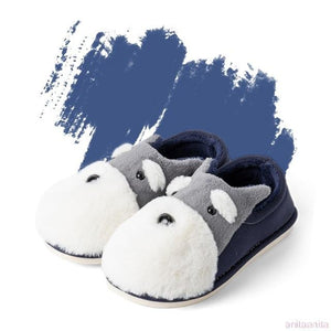 Schnauzer Love Warm Indoor Plush SlippersSlippersBlue - Closed Heel6