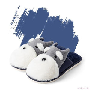 Schnauzer Love Warm Indoor Plush SlippersSlippersBlue - Open Heel6.5
