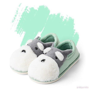 Schnauzer Love Warm Indoor Plush SlippersSlippersGreen - Closed Heel6.5