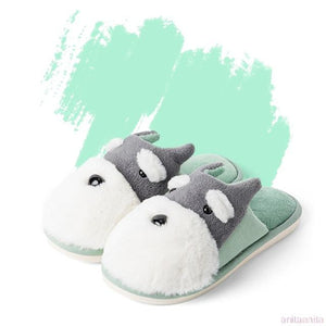 Schnauzer Love Warm Indoor Plush SlippersSlippersGreen - Open Heel6.5