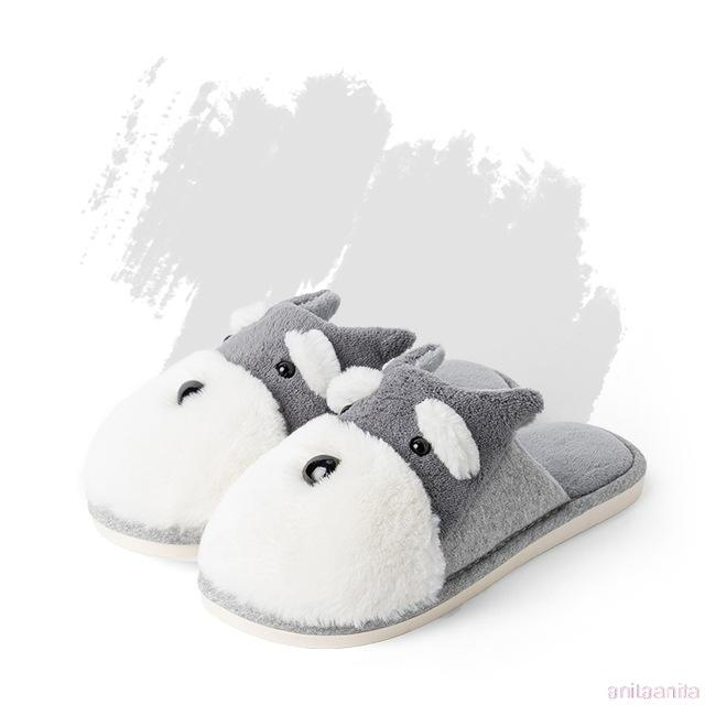 Schnauzer Love Warm Indoor Plush SlippersSlippersGrey - Open Heel6