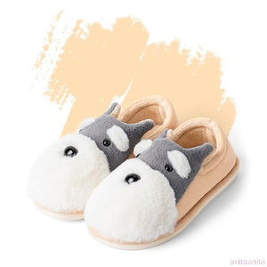 Schnauzer Love Warm Indoor Plush SlippersSlippersOrange - Closed Heel8