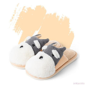 Schnauzer Love Warm Indoor Plush SlippersSlippersOrange - Open Heel6