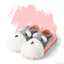 Load image into Gallery viewer, Schnauzer Love Warm Indoor Plush SlippersSlippersPink - Closed Heel6